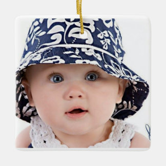 Square sweet baby image ceramic ornament