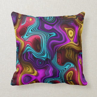 Square Swirls Purple Teal Pink Yellow Gold Throw Pillow