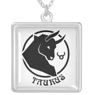 Square Taurus Zodiac Sign Square Pendant Necklace