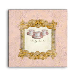 Square Tea Party Bridal Shower Royal Palace Gold Envelope