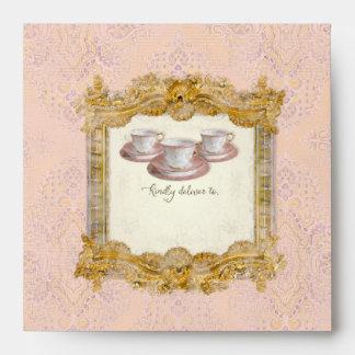 Square Tea Party Bridal Shower Royal Palace Gold Envelope
