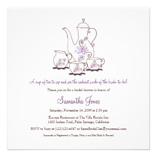 Square Tea Set Bridal Shower Invitations