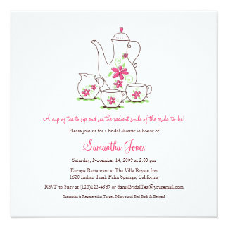Square Tea Set Bridal Shower Invitations, Pink Invitation