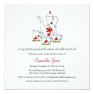 Square Tea Set Bridal Shower Invitations, Red Card
