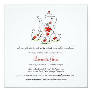 Square Tea Set Bridal Shower Invitations, Red Invitation