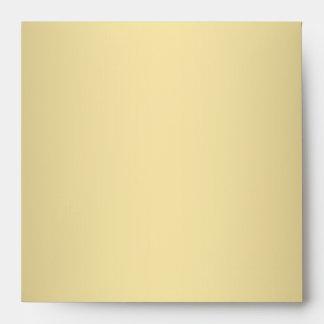 Square Teal Blue Gold Linen Envelopes