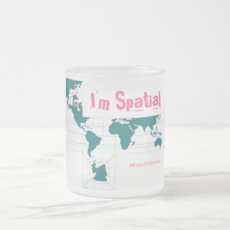 Square Teal, I'm Spatial, @MappingCenter Frosted Glass Coffee Mug