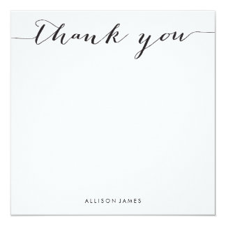 Square Thank You flat note cards - grooved paper