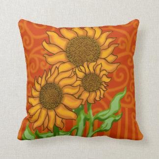 Square Throw Pillow/Sunflower Trio Throw Pillow