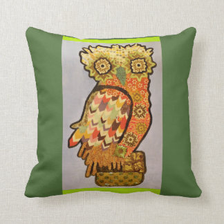 Square Throw Pillow with Bold Owl Design