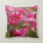 Square Throw Pillow with Pink Ranunculus Design