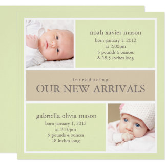 Square Twins Collage | Birth Announcement