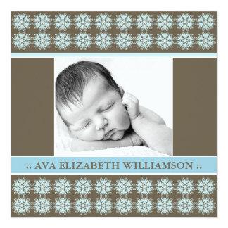 Square Victorian Blue Birth Announcement