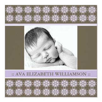 Square Victorian Lilac Designer Birth Announcement