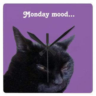 Square Wall Clock cat Monday mood