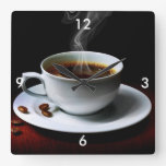 Square Wall Clock/Coffee and Coffee Beans Square Wall Clock