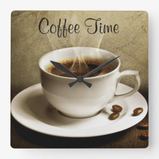 Square Wall Clock/Coffee Time Square Wall Clock