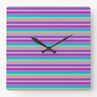 Square Wall Clock Colorful Purple Stripes