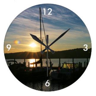 Square Wall Clock/Sailboats at Sunset Large Clock