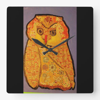 Square Wall Clock with Night Owl Design