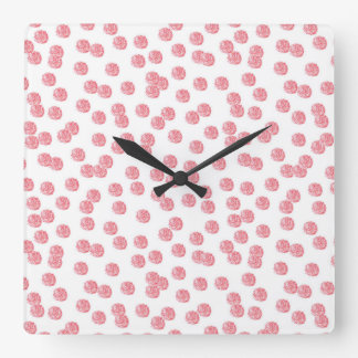 Square wall clock with red polka dots