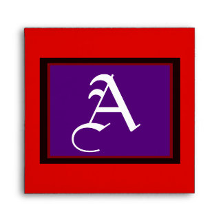 """Square Wedding """"A"""" White Letter Purple Red and Bk Envelope"""