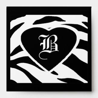 "Square Wedding ""B"" Letter Black White Strip Hearts Envelopes"