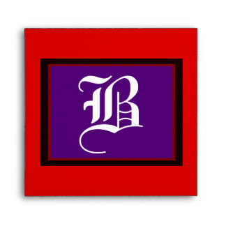 """Square Wedding """"B"""" White Letter Purple Red and Bk Envelopes"""