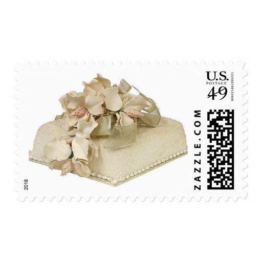 square wedding cake stamp zazzle. Black Bedroom Furniture Sets. Home Design Ideas