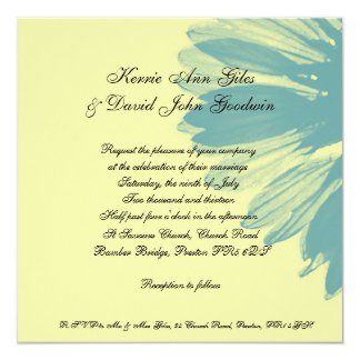 Square Wedding Invitation Blue and Yellow Flower