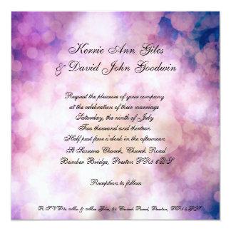 Square Wedding Invitation Purple Bokeh Background