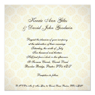 Square Wedding Invitation Vintage Orange and Cream