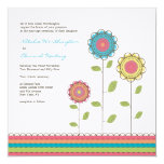 "Square Wedding Rainbow Tall Flowers Invitation 5.25"" Square Invitation Card"
