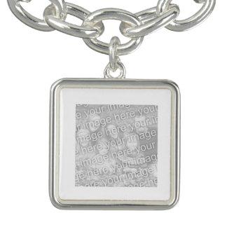 Square White Bordered Photo Charm Bracelets