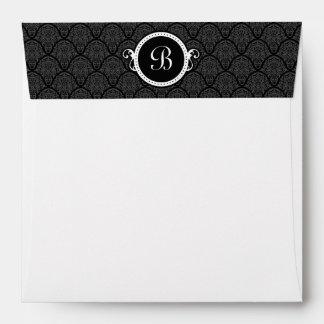 Square White Damask Flap Monogram Envelopes