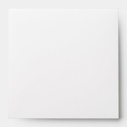 Square White Monogram Envelopes - Return
