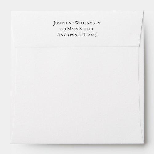 Square White Plain Simple Return Address Envelope
