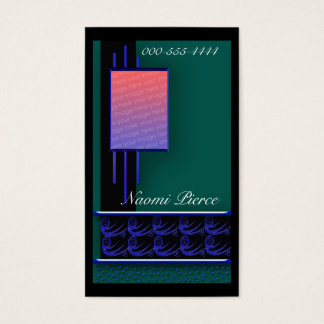 square window teal business card