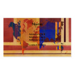 Square With Lines World Map Business Cards