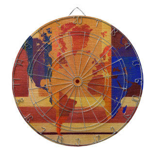 Square With Lines World Map Dart Board