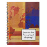 Square With Lines World Map Spiral Note Book