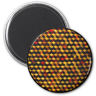 square wooden pattern 2 inch round magnet