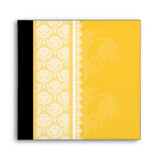 Square Yellow Gold One-Side Damask Envelopes