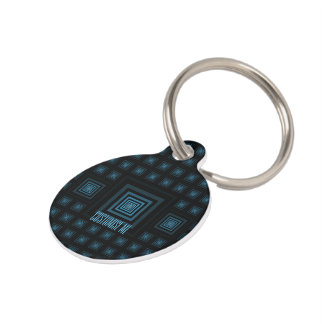 Squareception (Square Pattern) Blue Pet Name Tag