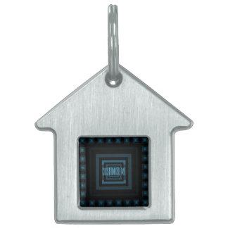 Squareception (Square Pattern) Blue Pet Tag