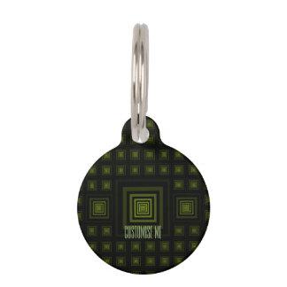 Squareception (Square Pattern) Green Pet Tag