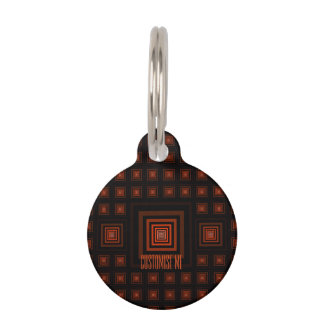 Squareception (Square Pattern) Orange Pet ID Tag