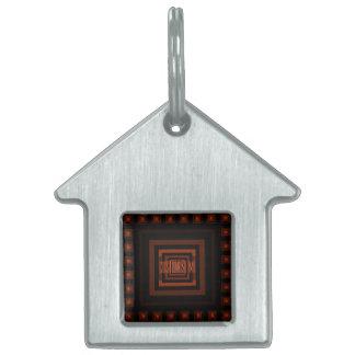 Squareception (Square Pattern) Orange Pet Name Tag