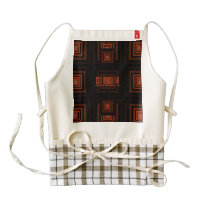 Squareception (Square Pattern) Orange Zazzle HEART Apron