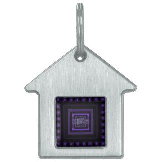 Squareception (Square Pattern) Purple Pet Name Tag